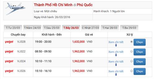 Giá vé máy bay từ Sài Gòn đi Phú Quốc