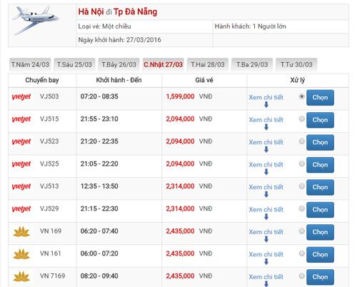Giá vé máy bay Hà Nội Đà Nẵng