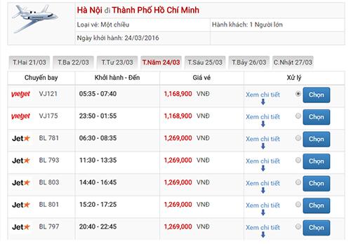 Giá vé máy bay Hà Nội Sài Gòn