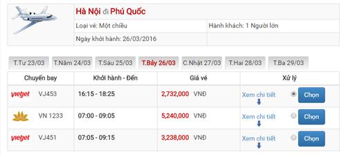 Giá vé máy bay từ Hà Nội đi Phú Quốc