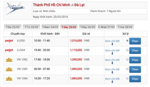 Giá vé máy bay Sài Gòn Đà Lạt