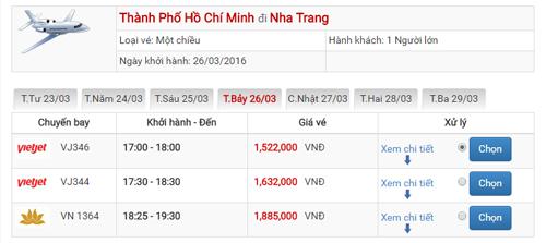 Giá vé máy bay Sài Gòn Nha Trang