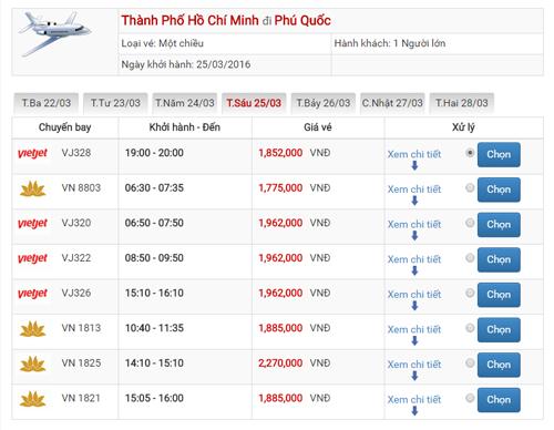 Giá vé máy bay Sài Gòn Phú Quốc