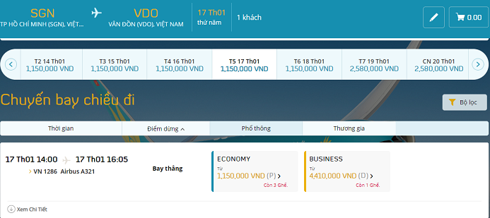 Vé máy bay Sài Gòn Vân Đồn của Vietnam Airlines